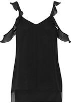 Elizabeth and James Cheryl Cold-shoulder Ruffle-trimmed Silk-georgette Top - Black