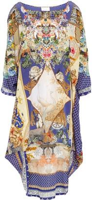 Camilla Asymmetric Crystal-embellished Printed Silk Crepe De Chine Dress