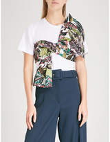 Oscar de la Renta Jungle front-tie cotton T-shirt
