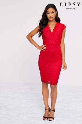 Lipsy Short Sleeve Lace Bodycon Dress - 12 - Red