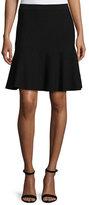 Lela Rose Mid-Rise Ribbed Skirt, Black