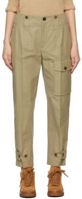 Chloé Khaki Canvas Cargo Trousers
