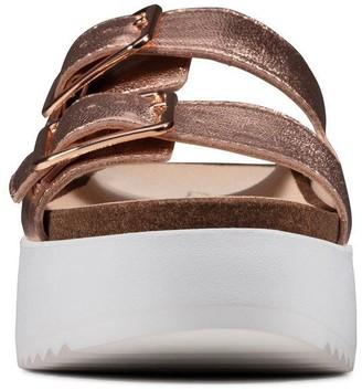 Clarks Botanic Slide Leather Chunky Wedge Sandal - Copper