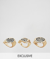 Monki 3 Pack Ornate Rings