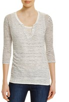 Majestic Filatures Stripe Linen Henley with Tank