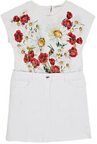 Dolce & Gabbana FLORAL STRETCH-COTTON JERSEY & DENIM DRESS