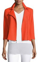 St. John Trellis Knit 3/4-Sleeve Moto Jacket, Tangerine
