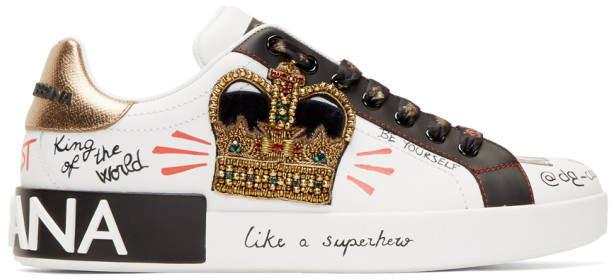 Dolce & Gabbana White and Black Printed Portofino Sneakers
