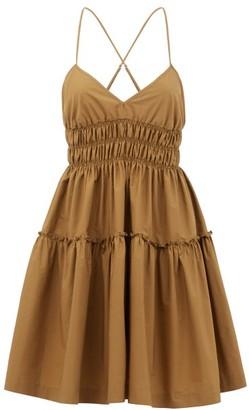 Three Graces London Mia Shirred Cotton Mini Dress - Brown