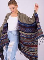 Missy Empire Essie Khaki Knitted Aztec Print Cape