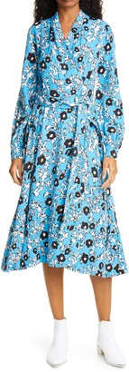 Stine Goya Reflection Abstract Floral Long Sleeve Wrap Dress