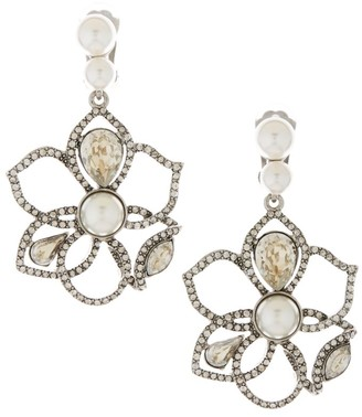 Oscar de la Renta Pave & Faux-Pearl Cutout Petal Drop Clip-On Earrings
