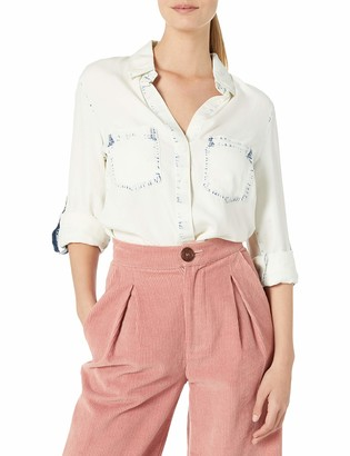 Angie Women's Bleached Denim Button Up Top