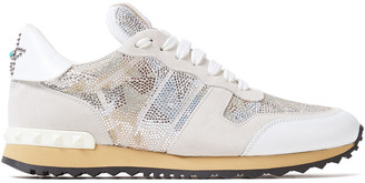 Valentino Crystal-embellished Leather-trimmed Suede Sneakers
