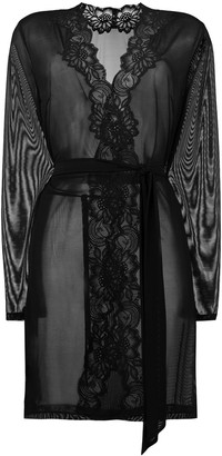 Myla Beaty Street lace-trim sheer robe