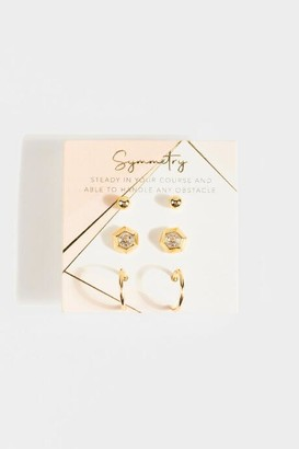francesca's Symmetry Geo Stud Set - Gold