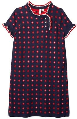 Janie and Jack Short Sleeve Dress (Toddler/Little Kids/Big Kids) (Navy) Girl's Clothing