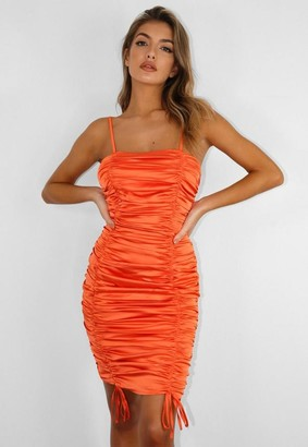 Missguided Orange Satin Ruched Mini Dress