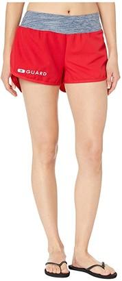 Speedo Guard Shorts w/ Stretch Waistband Red) Women's Swimwear