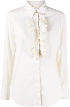 Barena Long Sleeve Ruffled Bib Blouse