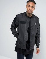 Religion Bomber Jacket with Military Patch Detailing