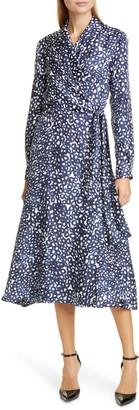Max Mara Ravel Silk Crepe de Chine Long Sleeve Wrap Dress