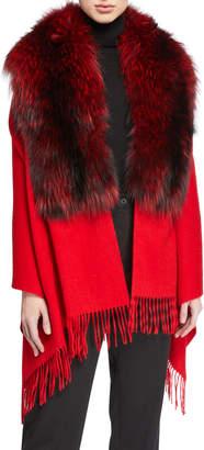 Pologeorgis Wool Wrap w/ Fur Trim