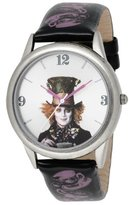 Disney Alice in Wonderland Women's AL1008 Mad Hatter Silver Dial Black Leather Strap Watch