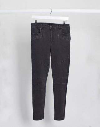 Vero Moda biker panelled skinny jeans in grey