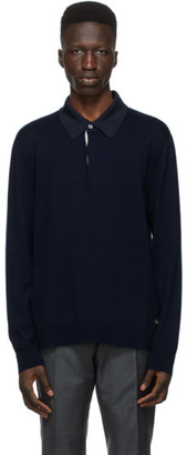 Dunhill Navy Contrast Long Sleeve Polo