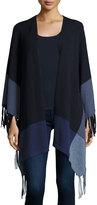Neiman Marcus Cashmere Fringe Oversized Cardigan, Navy