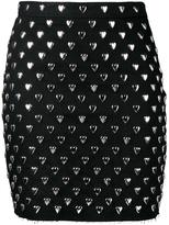 Saint Laurent heart studded mini skirt - women - Silk/Cotton - 27