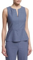 Theory Etia Sleeveless Peplum Top, Denim Melange
