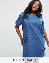 Alice & You Denim Bow Shift Dress