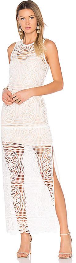 Aijek Blackjack Embroidered Column Maxi Dress