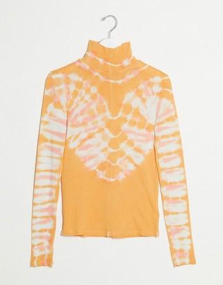 Free People tye dye high neck top in peach