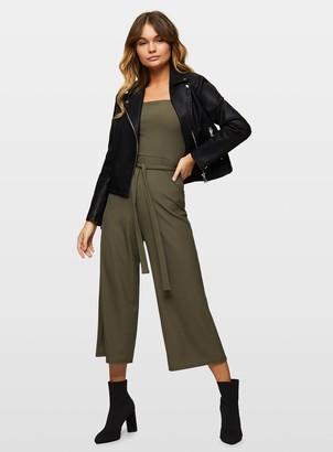 Miss Selfridge Khaki Wide Strap Jumpsuit