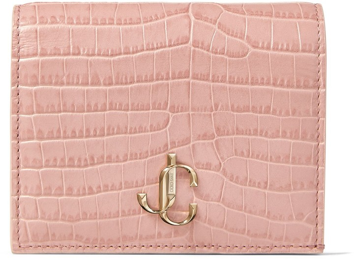 Jimmy Choo HANNE Blush Croc-Embossed Leather Wallet with JC Emblem