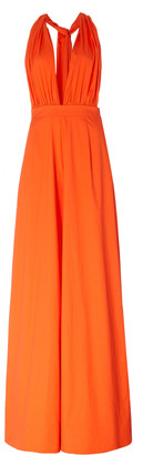 Oscar de la Renta Draped Stretch-Cotton Wide-Leg Jumpsuit