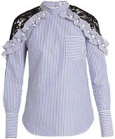 Self-Portrait Lace-shoulder striped cotton top