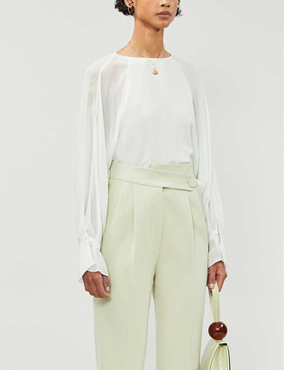 Reiss Eboni crepe sheer-sleeve blouse