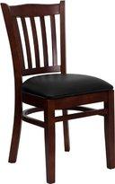 Offex of-XU-DGW0008VRT-MAH-BLKV-GG Hercules Series Finished Vertical Slat Back Wooden Restaurant Chair, Black Vinyl Seat