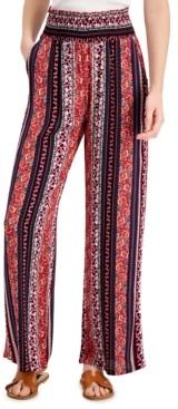 BeBop Juniors' Printed Smocked Wide-Leg Pants