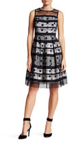 Sandra Darren Illusion Polka Dot Fit & Flare Dress (Petite)