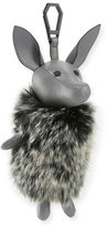 KENDALL + KYLIE Norman Faux-Fur Dog Charm for Handbag, Cement Gray/Black