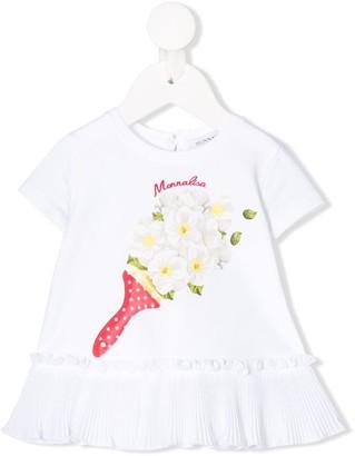 MonnaLisa short sleeve pleated trim T-shirt