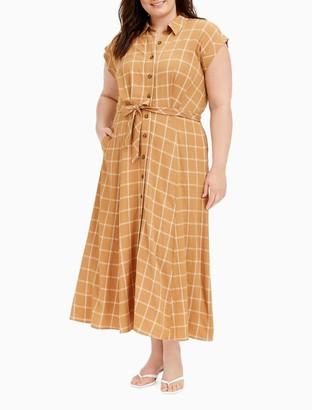 Calvin Klein Plus Size Windowpane Button-Down A-Line Dress