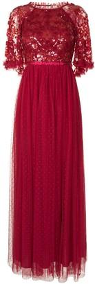 Needle & Thread Sequin Ribbon Bodice maxi dress