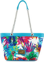 Love Moschino Jungle-Print Canvas Shoulder Bag, White/Blue