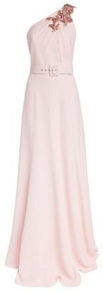 Andrew Gn Embellished One-Shoulder Gown